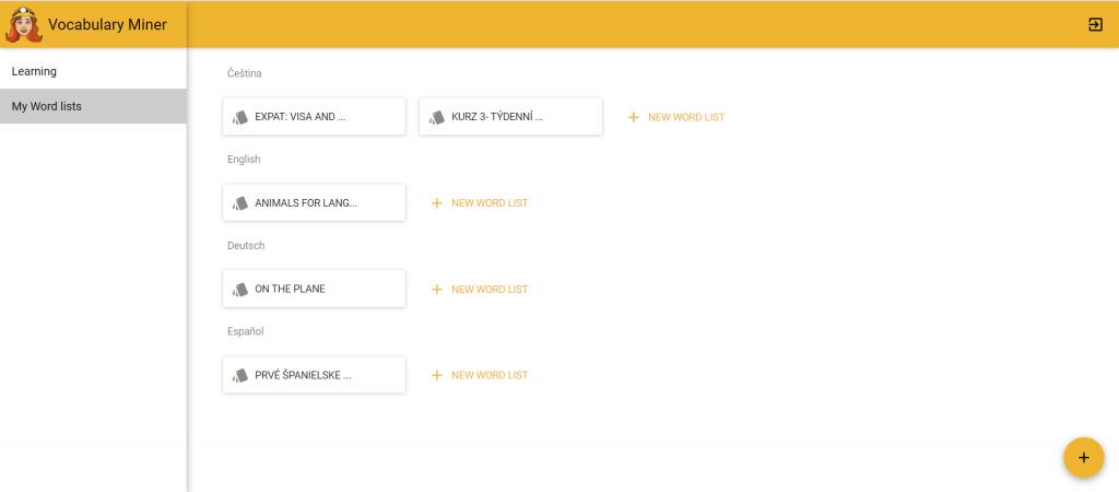 Vocabulary Miner yellow white web app