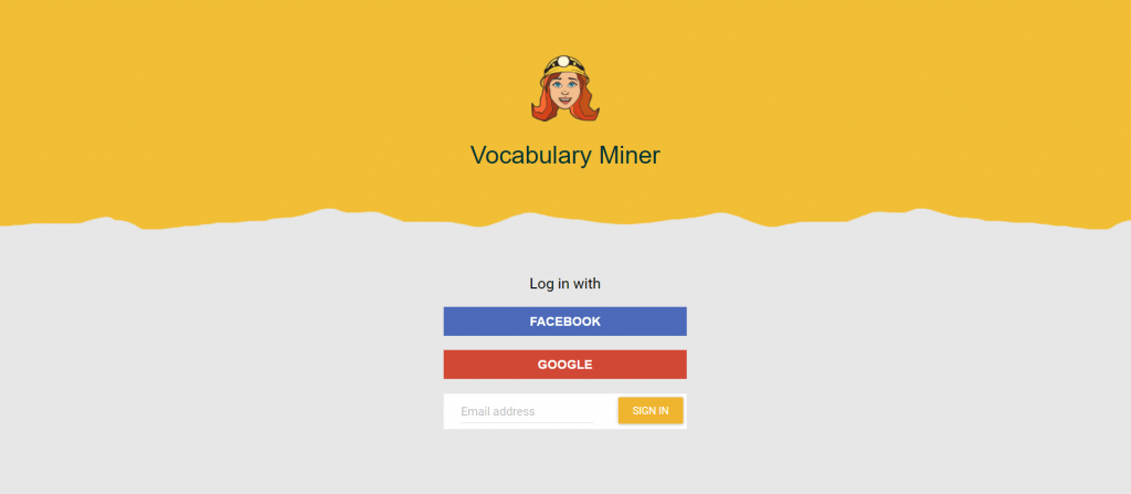 web app sign in options of Vocabulary Miner