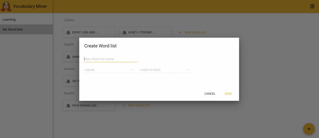 create word list in vocbaulary miner