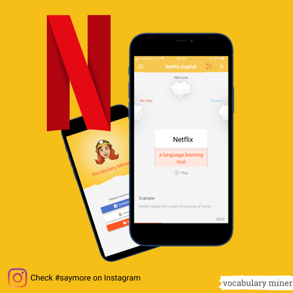 learn language with Netflix and Flashcards