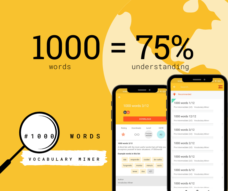 1000 most common Spanish words in Vocabulary Miner